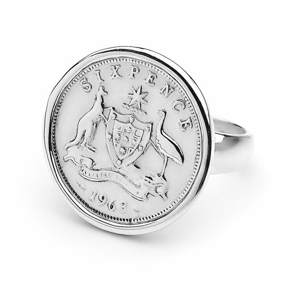 COTTON & CO SIXPENCE COIN RING