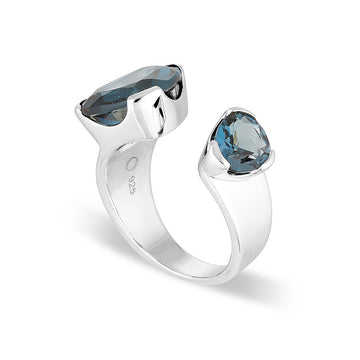 LONDON BLUE DUET COCKTAIL RING