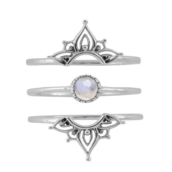 MIDSUMMER STAR WANDERLUST MOONSTONE RING SET