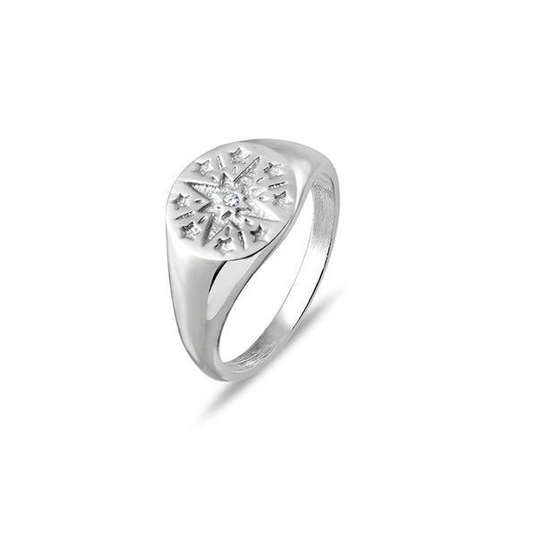 SILVERGIRL STAR SIGNET RING