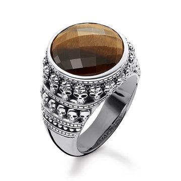 SKULL RING WITH TIGER'S EYE
