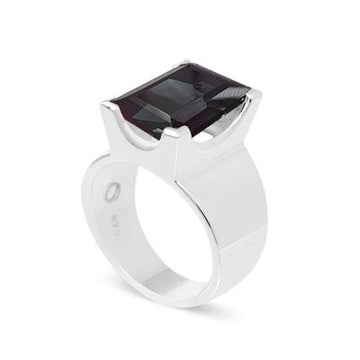 EMERALD CUT GEMSTONE RING - BLACK AGATE