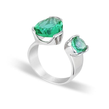 GREEN AMETHYST DUET COCKTAIL RING