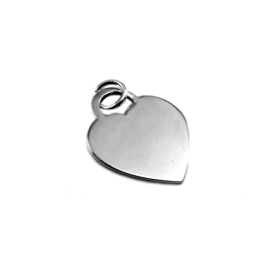 SILVERGIRL 20MM THIN FLAT HEART TAG PENDANT