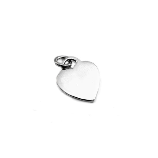 SILVERGIRL 13MM THIN FLAT HEART TAG PENDANT