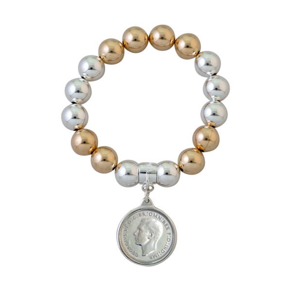 VON TRESKOW BALL BRACELET WITH SHILLING COIN