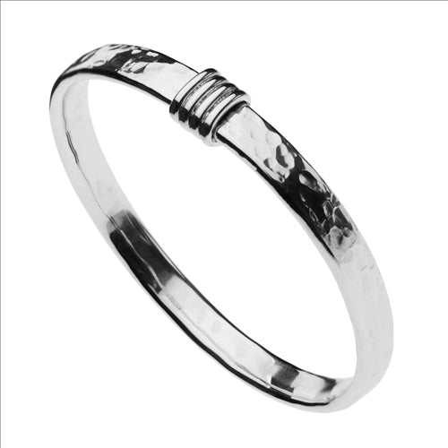 NAJO FLAT BEATEN TUBE BANGLE WITH COIL