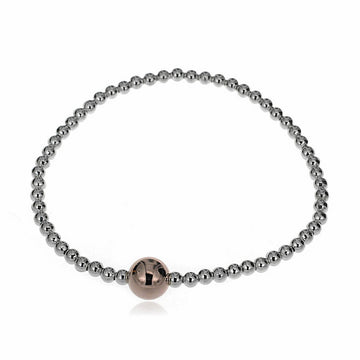 SILVERGIRL ROSE GOLD BALL FEATURE BRACELET