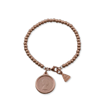 ROSE GOLD BALL BRACELET WITH SIXPENCE