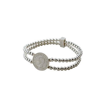 DOUBLE BALL BRACELET WITH COIN