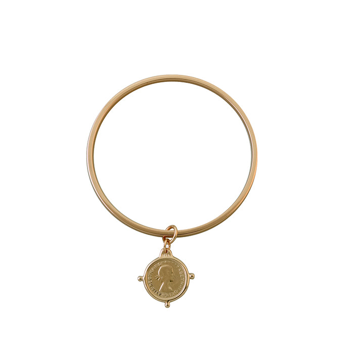 VON TRESKOW FLAT EDGE COIN BANGLE - YG