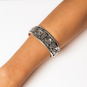 ALEJANDRA OXIDISED SKULL AND FLOWER CUFF BANGLE