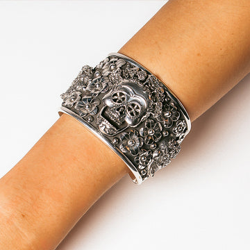 MORA OXIDISED SKULL AND FLOWER CUFF BANGLE