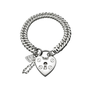 DOUBLE CURB LINK BRACELET WITH HEART PADLOCK