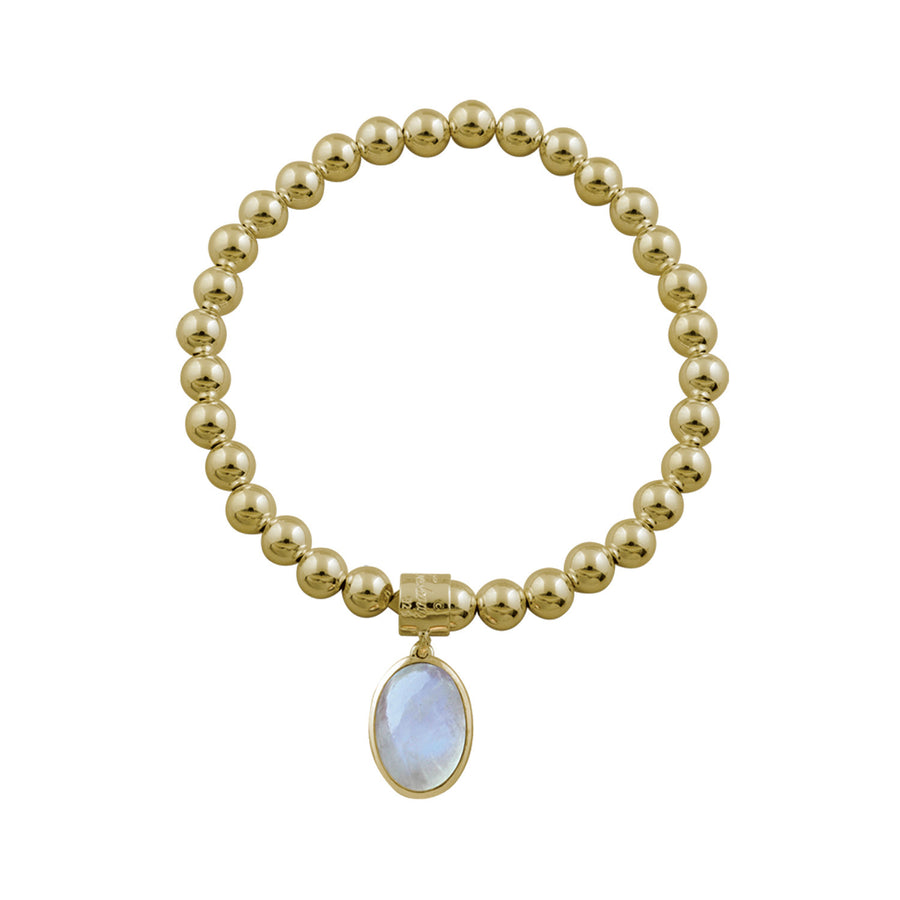 BALL BRACELET WITH OVAL MOONSTONE PENDANT