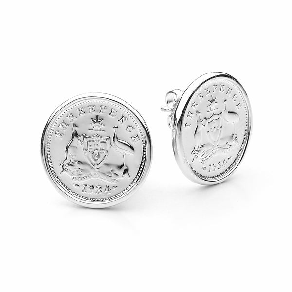 COTTON & CO THREEPENCE COIN EARRINGS
