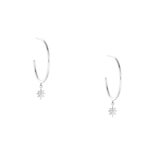 KIRSTIN ASH POINTED STAR HOOPS EARRINGS