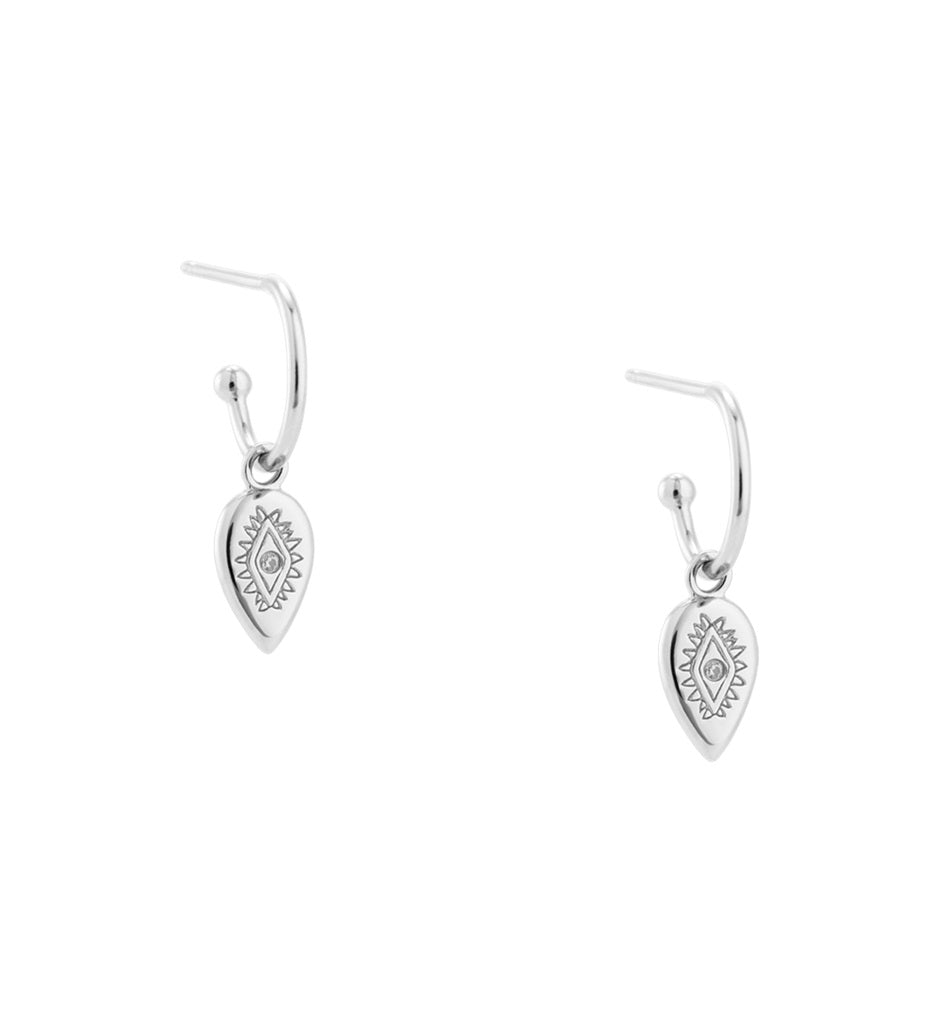 KIRSTIN ASH ETCHED TEARDROP HOOPS EARRINGS