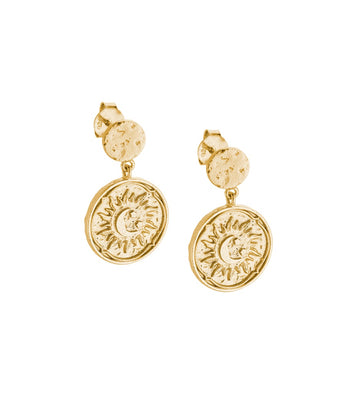 GOLDEN SUN COIN EARRINGS