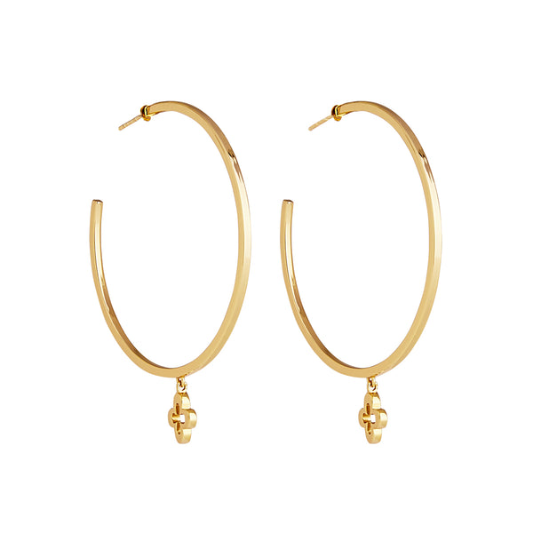NAJO YELLOW LOST ISLAND CLOVER LARGE HOOP EARRING