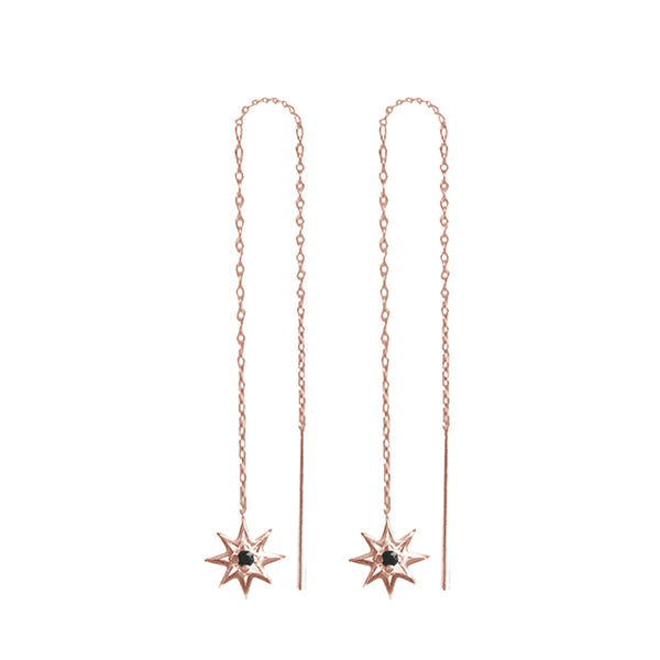 MURKANI BLACK NIGHTS FALLING STAR THREAD EARRINGS
