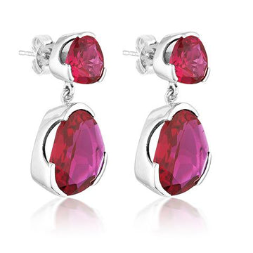 RUBY RED CORUNDUM DUET GEMSTONE EARRINGS