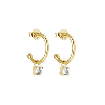 PETITE YELLOW GOLD WHITE TOPAZ DROP HOOPS