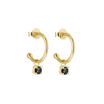 PETITE YELLOW GOLD BLACK SPINAL DROP HOOPS