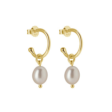 PETITE YELLOW GOLD PEARL DROP HOOPS