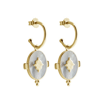 YELLOW GOLD OVAL MOTHER OF PEARL DROP EARRINGS