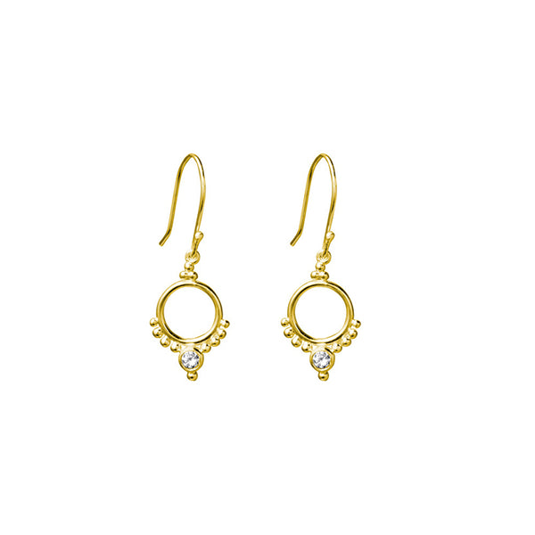 SILVERGIRL CIRCLE & ZIRCONIA EARRINGS - YG