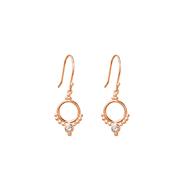 SILVERGIRL CIRCLE & ZIRCONIA EARRINGS - RG