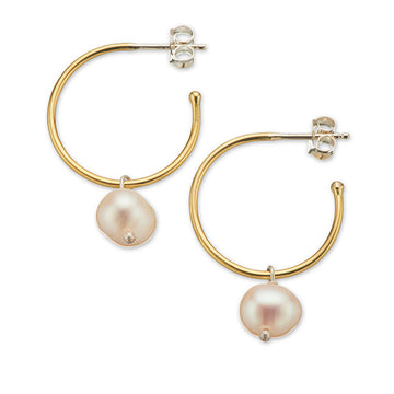 SMALL HOOP PEARL EARRINGS