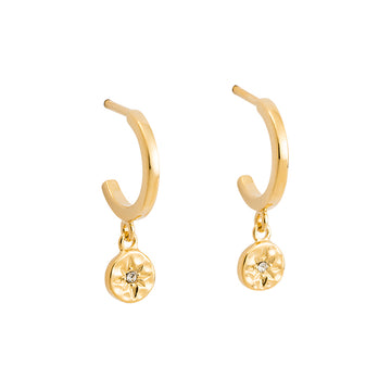 YELLOW GOLD STAR COIN HOOP EARRINGS