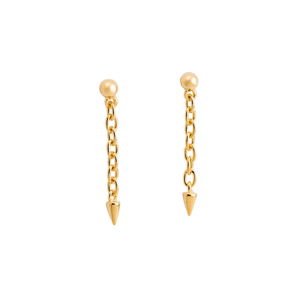 KIRSTEN ASH YELLOW GOLD SPIKE CHAIN EARRINGS