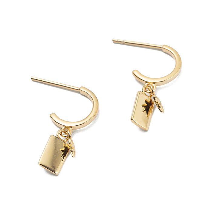 YELLOW GOLD GUIDING STAR HOOPS