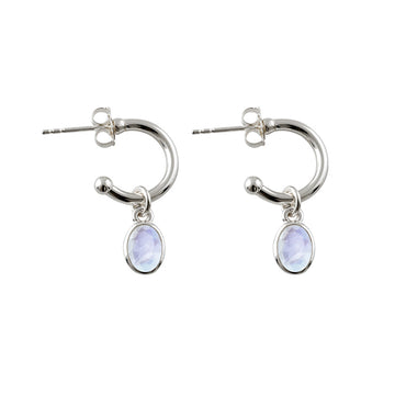 OVAL MOONSTONE HOOPS