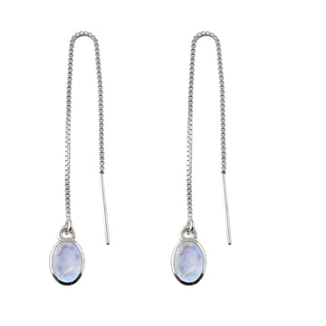 OVAL MOONSTONE THREAD EARRINGS