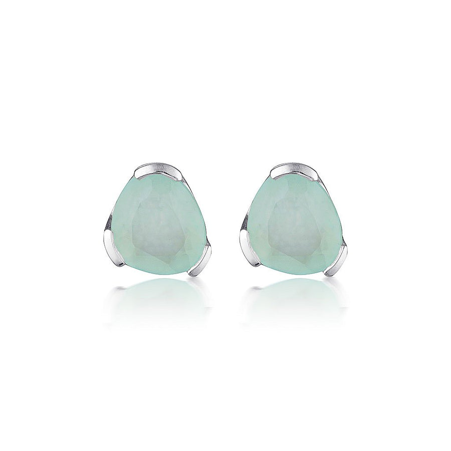 GEMSTONE STUD EARRINGS - AQUAMARINE