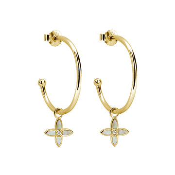 DESERT FLOWER | MEDIUM HOOP CROSS EARRINGS