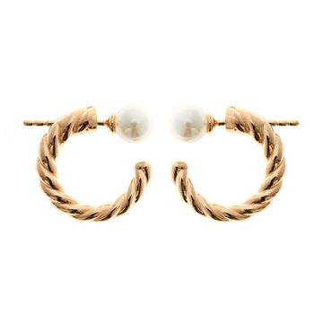 YELLOW GOLD TWIST HOOP AND PEARL EARRING