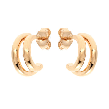 YELLOW GOLD DOUBLE HOOP EARRING