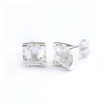 LARGE EMERALD CUT EARRINGS - WHITE SAPPHIRE