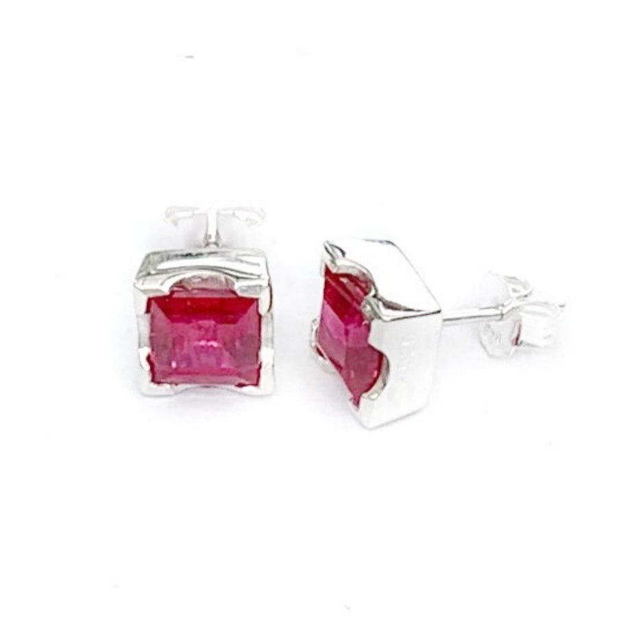 LARGE EMERALD CUT EARRINGS - RUBY RED