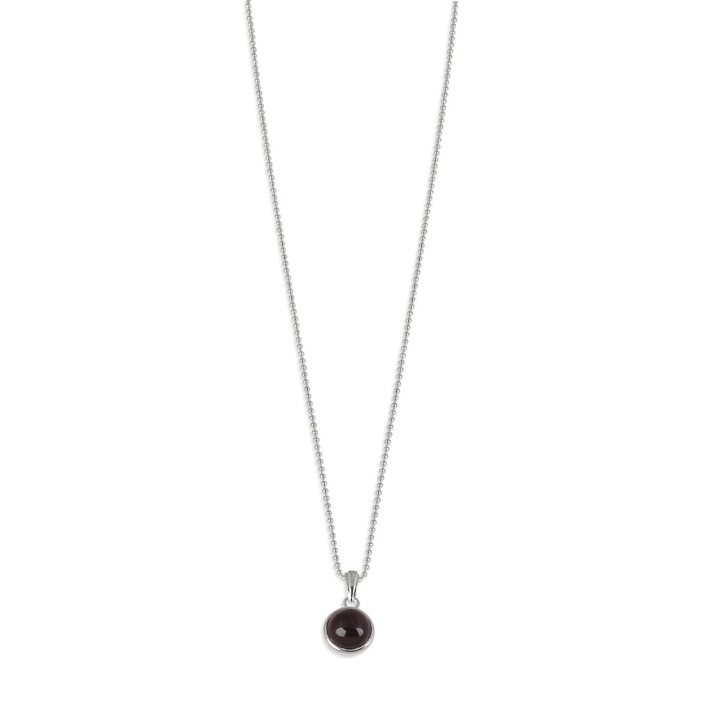 VON TRESKOW GARNET BALL CHAIN NECKLACE