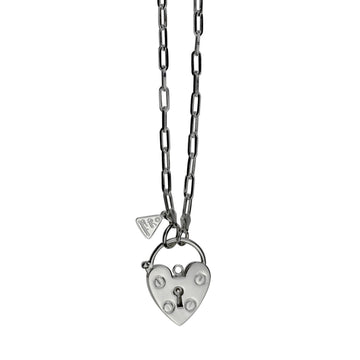 CLIP CHAIN WITH HEART PADLOCK