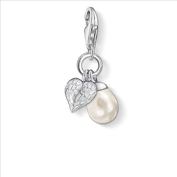 CHARM CLUB WINGED HEART AND PEARL