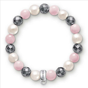 CHARM CLUB ROSE QUARTZ/HEMATITE BRACELET