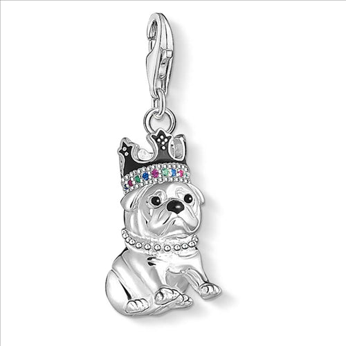 THOMAS SABO CHARM CLUB CROWN PUG DOG PENDANT