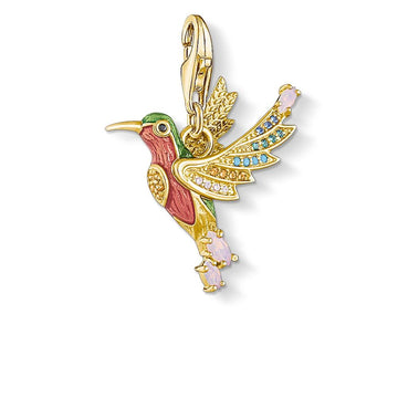 CHARM CLUB COLOURFUL HUMMINGBIRD GOLD PENDANT